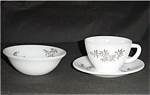 Click here to enlarge image and see more about item 603s: Federal Glass Cup and Saucer plus Bowl