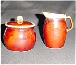 Hull Brown Sugar Bowl and Creamer Set