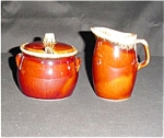 Click here to enlarge image and see more about item 612s: Hull Sugar Bowl and Creamer Set