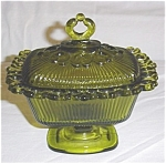 Click here to enlarge image and see more about item 65s: Green Indiana Glass Lace Edge Candy Dish