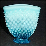 Click here to enlarge image and see more about item 670s: Fenton Blue Opalescent Mini Hobnail Vase