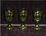 Click here to enlarge image and see more about item 747: Set of 3 Green Water Goblets