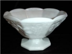 Click here to enlarge image and see more about item 80: Milk Glass Paneled Grape Pedestal Bowl
