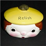 Anthropomorphic Relish Dish of Boy with Hat