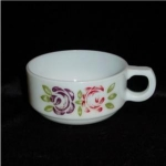 Click here to enlarge image and see more about item 840: Milk Glass Handled Soup Bowl