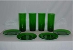 Click here to enlarge image and see more about item 919: Anchor Hocking Green Tumblers & Plates