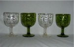 Click here to enlarge image and see more about item 950: Green & Clear Goblet Set