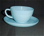 Click here to enlarge image and see more about item 956s: Fire King Turquoise Blue Cup and Saucer