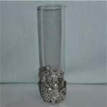 Click here to enlarge image and see more about item 980: Glass & Metal Bud Vase