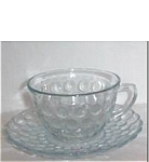 Click here to enlarge image and see more about item 989s: Fire King Blue Bubble Cup and Saucer Set