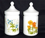 Click here to enlarge image and see more about item 994s: Milk Glass Flower Jars Set of 2