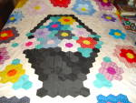 Click here to enlarge image and see more about item q23: Flower Basket Quilt Top