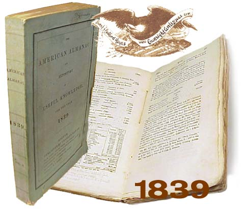 AMERICAN ALMANAC of USEFUL KNOWLEDGE for 1839 (Image1)