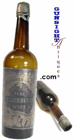 Civil War vintage BLACKBERRY WINE BOTTLE with LABEL (Image1)