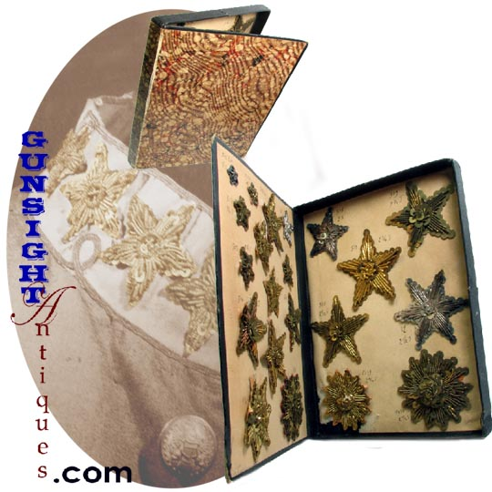 earlier 1800's to Civil War vintage STAR INSIGNIA SAMPLE CASE (Image1)