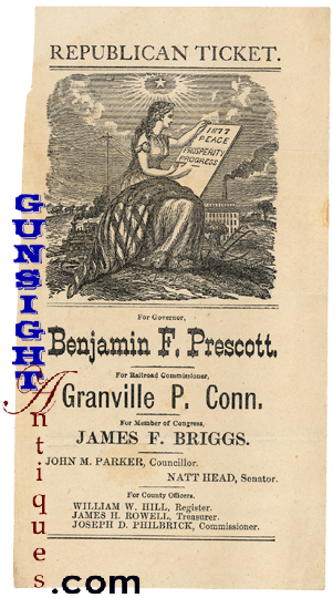 c.1877 New Hampshire POLITICAL TICKET (Image1)