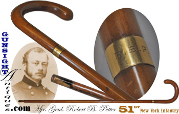 19th century walking stick of Mjr. Genl. Robert B. Potter – 51st New York Infantry (Image1)