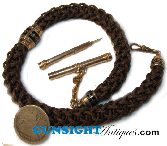 Victorian hair work WATCH CHAIN with TOOTHPICK (Image1)