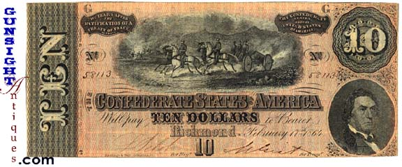Civil War CONFEDERATE $10.00 BILL (Image1)