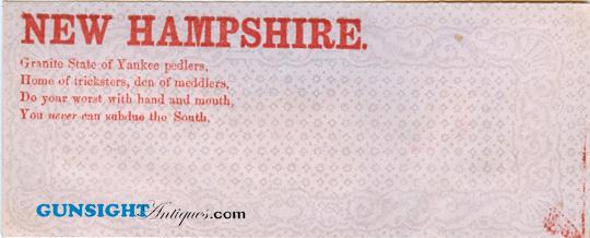 Pro CONFEDERATE – New Hampshire POSTAL COVER (Image1)