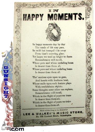 earlier 1850s / Civil War era  – Broadside / Song Sheet (Image1)