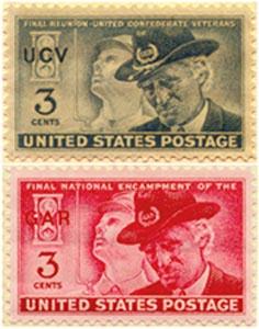 1949 & 1951  CIVIL WAR vet's UCV & GAR POSTAGE STAMPS (Image1)
