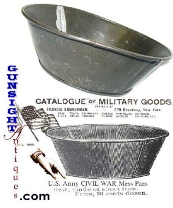 Civil War tinned sheet-iron  ARMY MESS PAN (Image1)