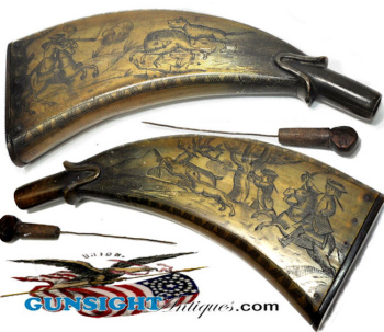 1700s-very Early 1800s Decorated Powder Horn