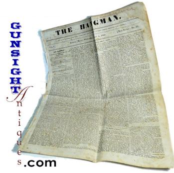 Rare! 1845 Boston Newspaper – THE HANGMAN  (Image1)