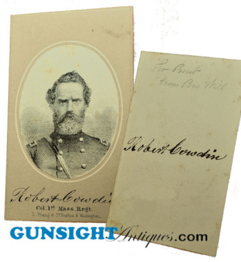 Civil War 1st Mass. Infantry Colonel- Signed Prang
