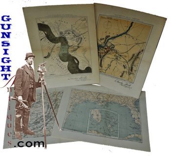 frameable size - Civil War era Union Engineers TOPOGRAPHICAL MAPS (Image1)