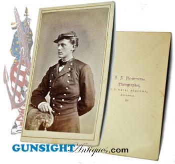 early post Civil War CDV – U S Naval Academy Cadet Ensign   (Image1)