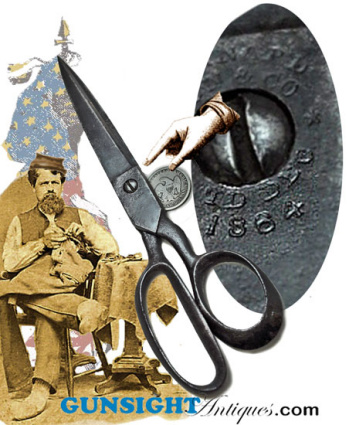 Civil War era - Pat. 1864 SCISSORS   (Image1)