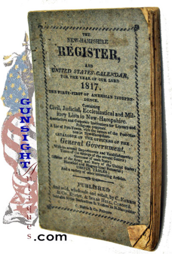 1817 New Hampshire Register & U. S. CALENDAR (Image1)
