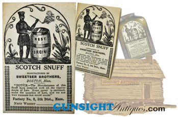original Civil War era Scotch Snuff label by Sweetser Brothers, Boston  (Image1)