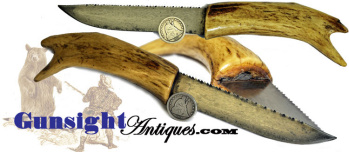 antique deer antler BELT KNIFE (Image1)