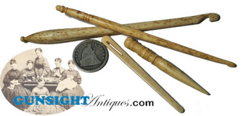 hand carved antique BONE SEWING IMPLEMENTS (Image1)
