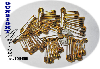 Vintage Brass Plated SAFETY PINS (Image1)