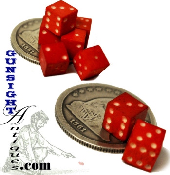 19th century red stained DICE (Image1)