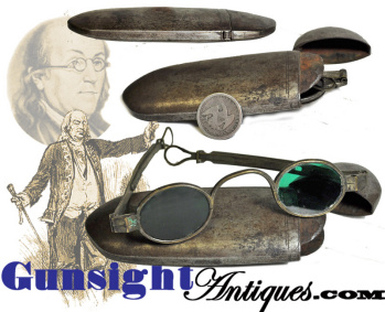 18th century  TINTED SPECTACLES in their original IRON CASE (Image1)