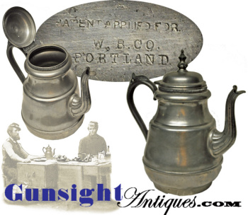mid 1800s - W. B. & Co.- Portland Pewter Coffee Pot  (Image1)