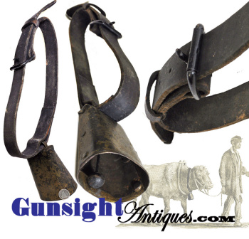 Classic Civil War Vintage - Leather Belt With Iron Bell