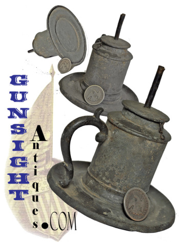c. 1840 / 1850  pewter HAND LAMP  (Image1)