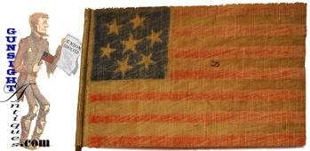 rare c.1861   7 Star CONFEDERATE SYMPATHIZER – Parade Flag   (Image1)