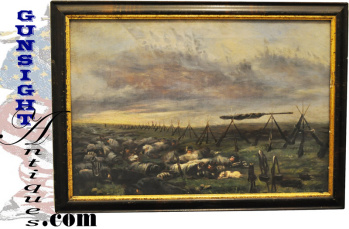 On The March / Encampment - Civil War Era Oil Painting