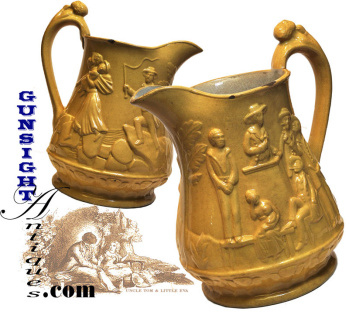 Period 'uncle Tom's Cabin' - American Yellow Ware Pitcher
