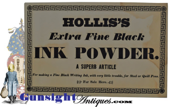 Original C. 1840 - Hollis Black Ink / For Steel Or Quill Pens - Broadside