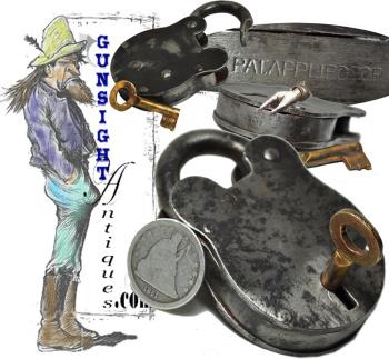 Original Civil War era 'Pat. Applied For' - PADLOCK & KEY (Image1)