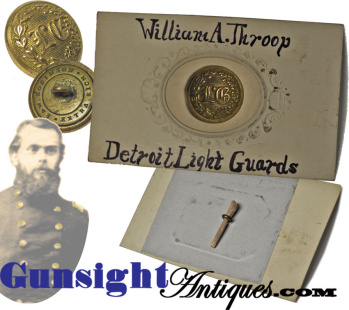 Important Gen. Wm. A. Throop -- Detroit Light Guards -- Uniform Button
