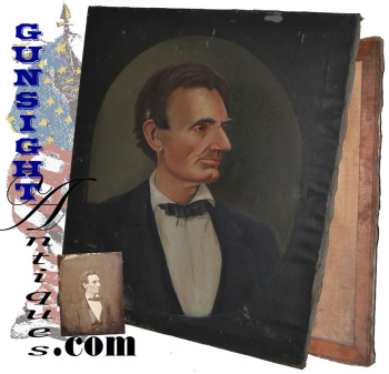 C. 1860 Abraham Lincoln - Folk Art Oil Painting